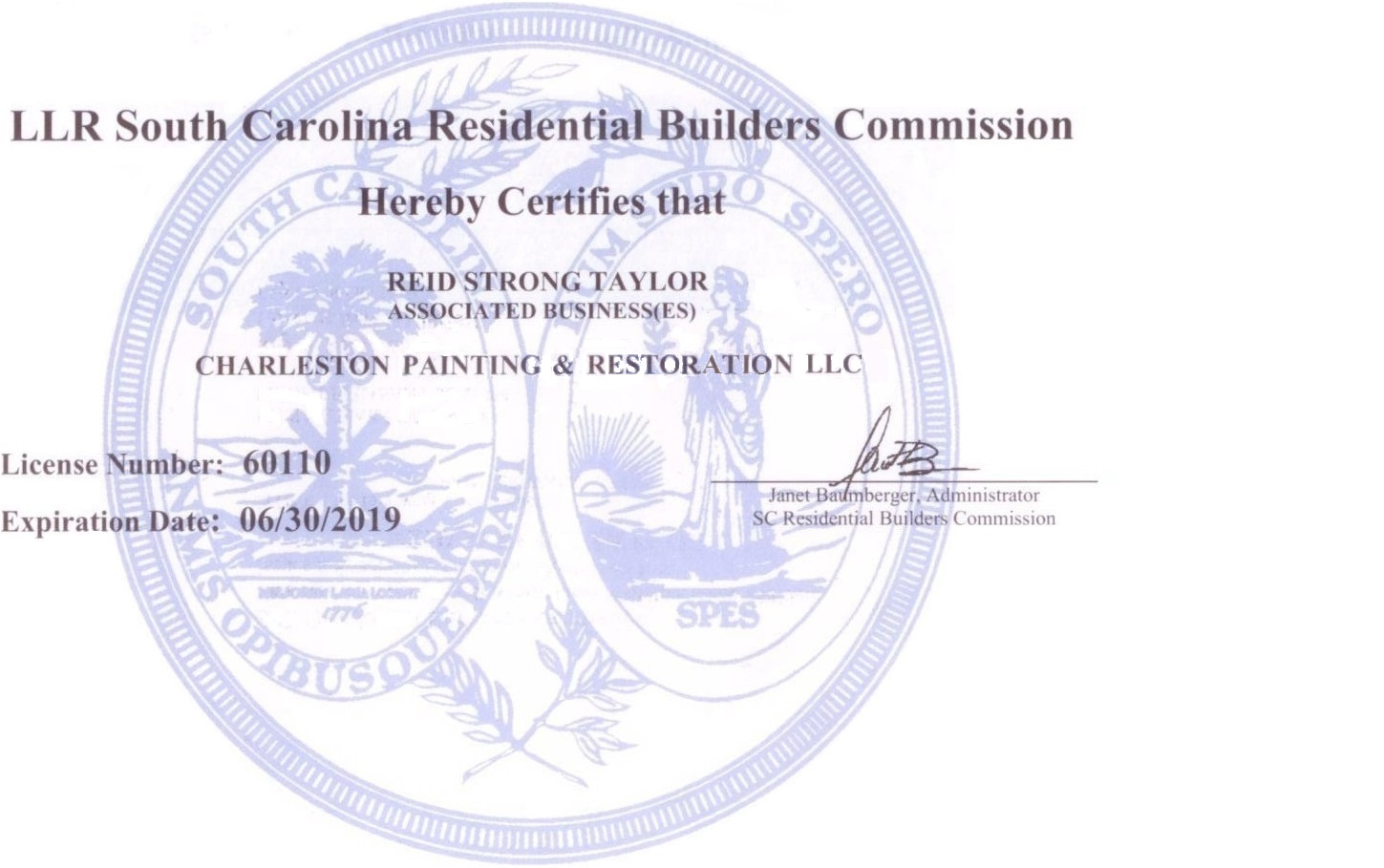 South Carolina Residential Builders License — – Charleston