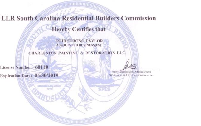 S.C. Contractors License 001